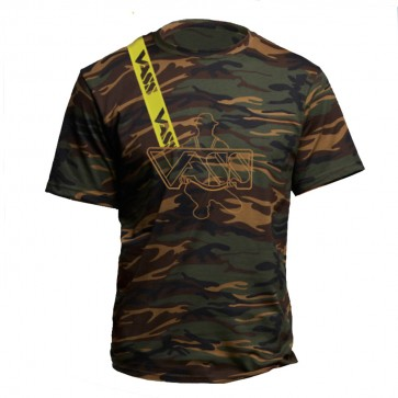 Embroidered Vass Cotton Camouflage T-Shirt with Yellow Printed Vass Brace
