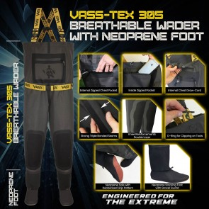 Vass-Tex 305 Tough Breathable Chest Wader with Neoprene Stocking Foot